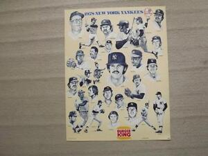 "FS: 1978 ""NY Yankees Team"" Burger King (Food Issue) Promotional"