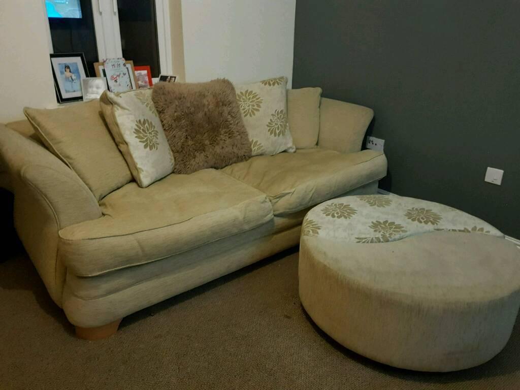 Dfs sofa with pouffe
