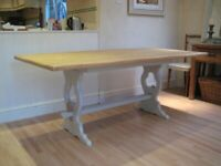 Stunning Large Vintage Trestle Kitchen Table - Professionally finished in Farrow & Ball