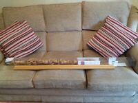 FREE - USED WOOD CURTAIN POLE WITH ALL FIXINGS AND FITTING INSTRUCTIONS
