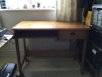 Wooden desk with drawer and keyboard slider