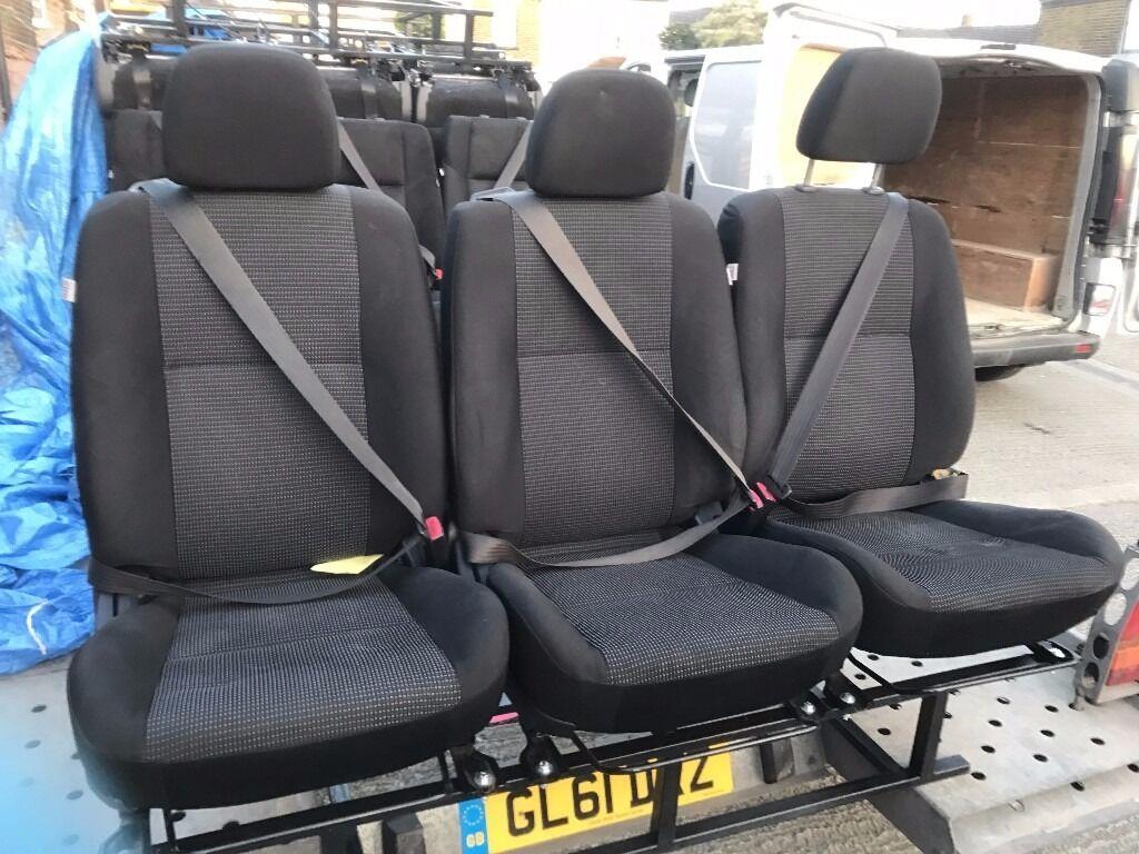 Van Rear Triple Seats Bench Adjustable Seat Belts Vivaro