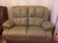 Leather manual reclining two seater sofa