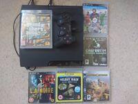 Playstation 3 slim 160GB in original box with 6 games inc. GTA V