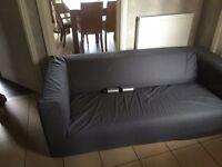 IKEA GREY 3 SEAT SOFA WITH 4 X STEEL LEGS/FEET. FREE