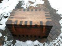 Large Antique iron bound pine trunk tin lined
