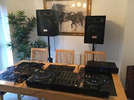 Pioneer CDJ1000 (1xMK2 1xMK3) PAIR DJM500 + Skytec PRO480 Amp 2x AUNA Speakers; 2x Tripods & Leads