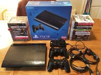 Sony Playstation 3 500gb + 27 games, all as new + 2 controllers, dual charger, cables etc