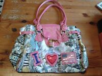 Lovely large pink/decorated handbag, used twice, very good condition approx. 35 x 25cm