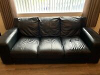 2 x 3 Seater Black Sofas - Free - Must be collected.