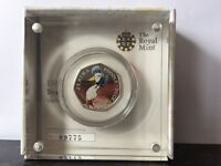 Beatrix Potter Anniversary Jemima Puddle Duck Silver Proof Coloured 50p Coin