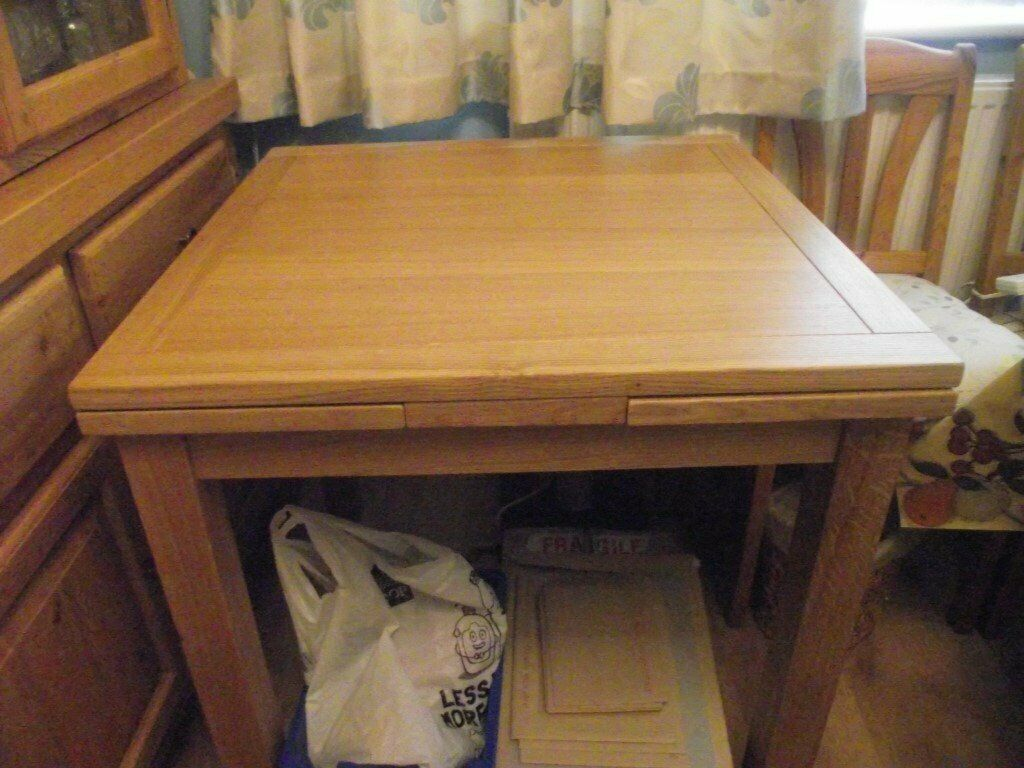 Square Extendable Light Oak Dining Table And 4 Ikea Chairs In