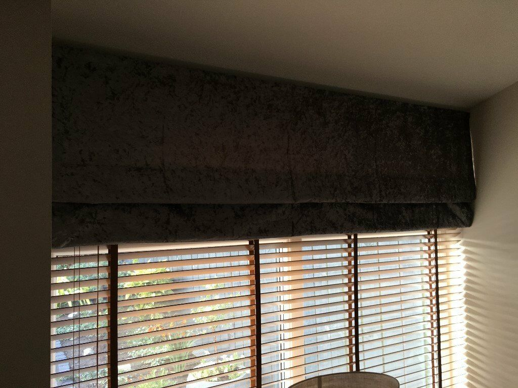 Grey Crushed Velvet Roman Blinds In Bridge Of Don