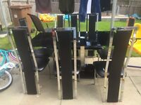 Large black glass dining table 8 chairs