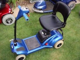 EXCELLENT LITTLE BLUE COMPACT FOLDING BOOT MOBILITY SCOOTER + BRAND NEW BATTERIES - JUST £290