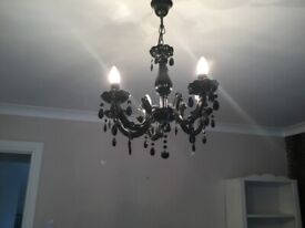 BLACK DROPLET STYLE CANDELABRA WITH 5 CANDLE BULBS