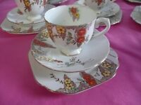 VINTAGE CHINA TRIOS IDEAL FOR WEDDINGS AFTERNOON TEAS ETC
