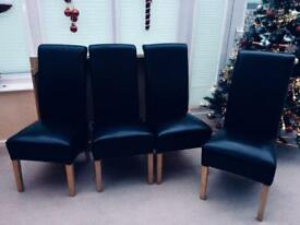 4 faux leather scroll back deep skirt dining chairs
