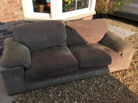 FREE! Large comfortable 3 seater sofa, oatmeal coloured fabric covered, good condition