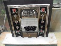 VICTORIAN CAST IRON TILED FIREPLACE WITH MARBLE HEARTH AND BACK WITH GAS FEED CAN DELIVER