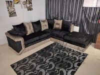 DINO SOFA BLK/GOLD CRUSHED VELVET CORNER+FREEFOOTSTOOL OR 3+2 SEATER SOFA | EXPRESS DELIVERY UK