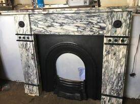 Antique breccia marble fireplace and inset