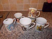 7 Silver jubilee queen commemorative mugs