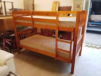 Solid Pine Wood Bunk Bed + two mattresses !