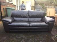 DFS brown leather sofa & chair