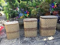 Set of three laundry baskets