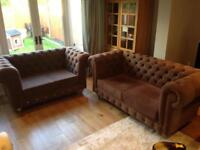 Chesterfield Style Fabric Mink Velvet Sofas - 2 & 3 Seater - Excellent Condition