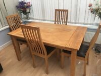 Solid wood dining table & 4 high backed chairs - cheap!!!