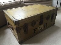 Old fashioned Vintage Trunk Suitcase Coffee Table or Storage or Ottoman