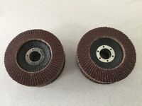 10 - 115 mm Flap discs 80 grit and 6 -125 mm heavy duty sanding discs with backing flange and nut