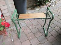 VINTAGE METAL AND WOOD, GARDEN KNEELER / SEAT, BY CORRIE, MADE IN ENGLAND