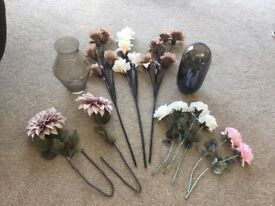 Selection of vases and ornamental flowers...
