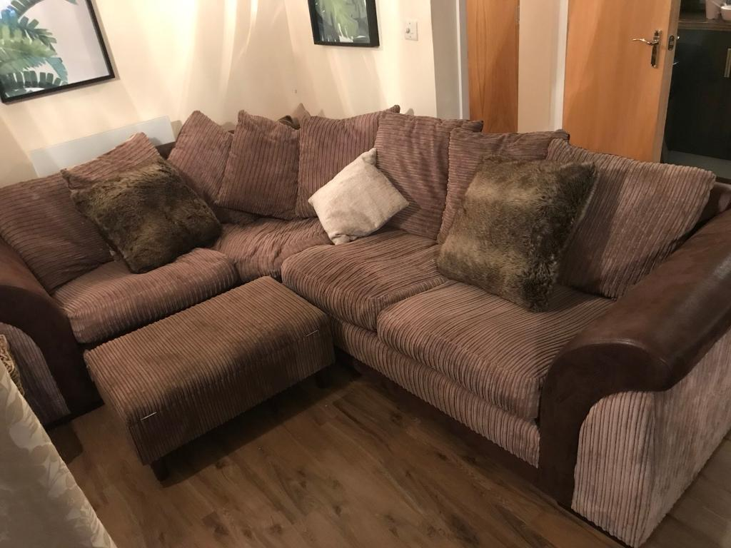 Brown Jumbo Cord Amp Leather Scatter Back Corner Sofa In