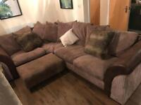 Brown Jumbo Cord & Leather Scatter Back Corner Sofa