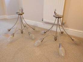 2 x 5 Light Silver Chandeliers