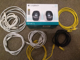 Logitech USB Laptop Speakers, plus a couple of Ethernet Cables: a Fiver for the lot (£5.00)