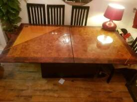 Beautiful polished designer walnut inlaid dining table