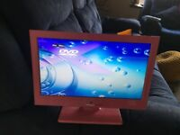 "Pink 15"" screen television in excellent condition, never used. Ideal for a young girls bedroom."