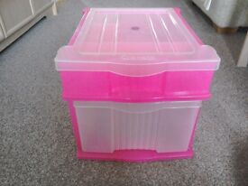 Pink/Clear Plastic Draws