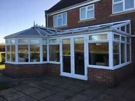 8mx3m P shaped upvc conservatory with fitted blinds including 2.3mx2.1m upvc French double doors