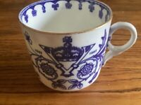 Queen Victoria's Golden Jubilee blue and white China cup and saucer