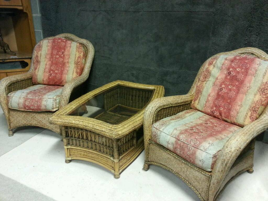 Pair of cane chairs table