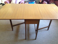 Drop leaf dining table, teak finish, excellent condition