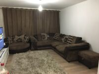 Brown fabric corner sofa set