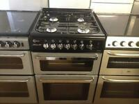 Black/ silver 60cm gas cooker (Glass lid)