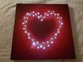 Light up heart canvas